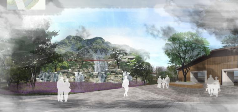 [昆明]当地文化滨河带状公园景观设计方案-彩虹瀑布效果图