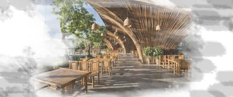 [昆明]当地文化滨河带状公园景观设计方案-官渡茶社效果图
