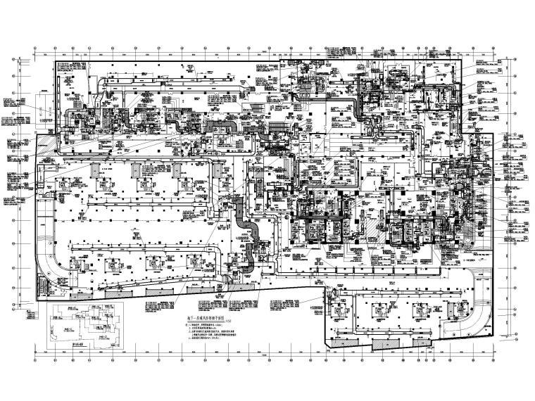 酒店地下室人防通风设计施工图-地下一层通风防排烟平面图