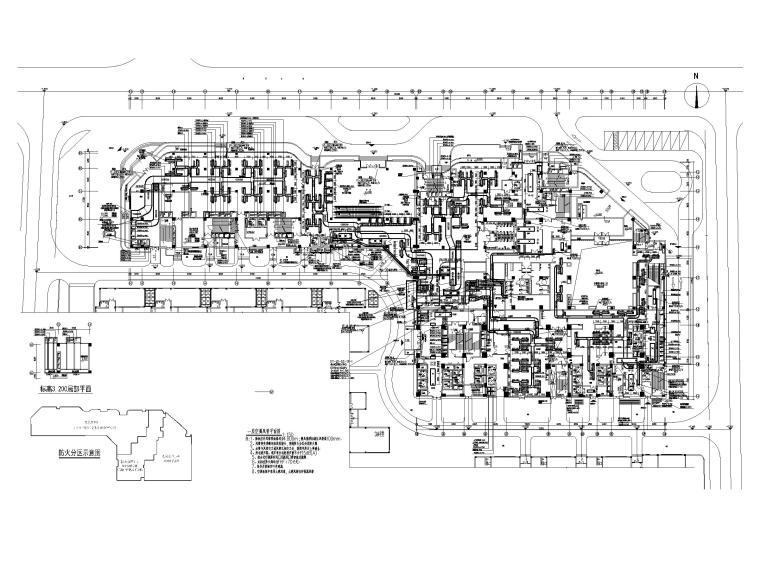 [厦门]五星级酒店_办公楼空调通风系统设计-一层空调风管平面图