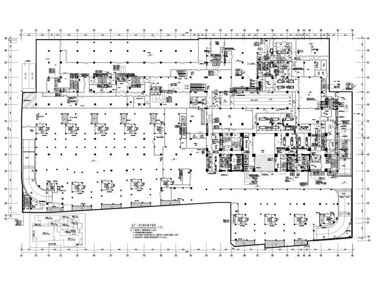酒店地下室人防通风设计施工图-地下一层空调风管平面图