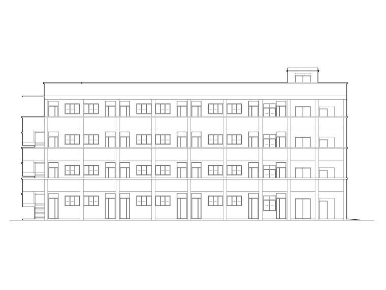 [湖北]高冲四层框架结构小学教学楼建施图纸-立面图1