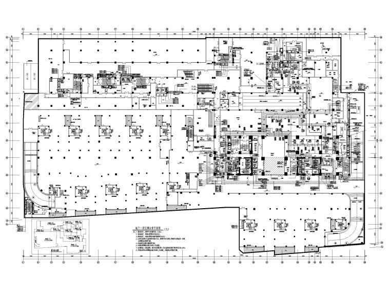 酒店地下室人防通风设计施工图-地下一层空调水管平面图