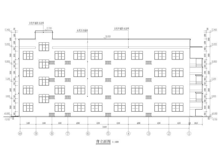 [湖北]高冲四层框架结构小学教学楼建施图纸-立面图2