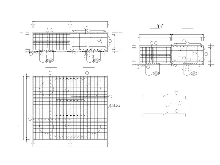 [重庆]城市主干路车行匝道桥梁设计图-桥台承台钢筋布置图