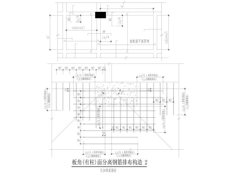 楼板钢筋构造及坡屋面构造大样2018(CAD)-板角(有柱)面分离钢筋排布构造