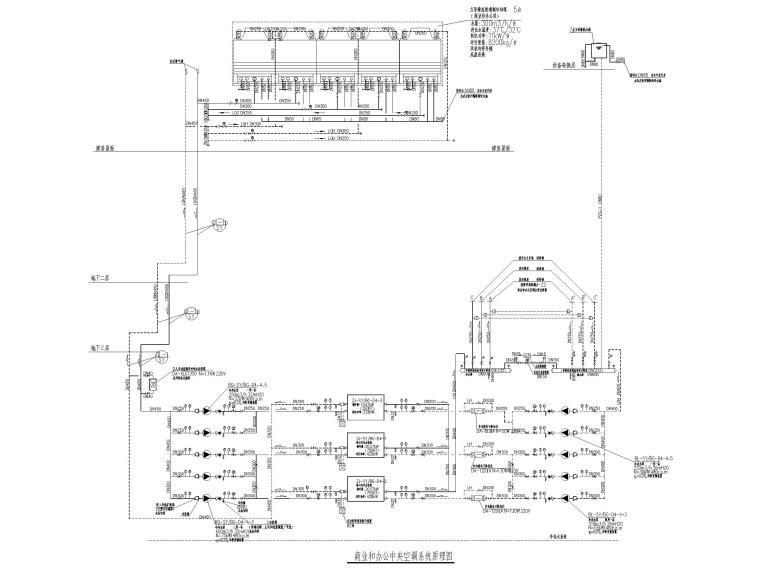 酒店地下室人防通风设计施工图-商业和办公中央空调系统原理图