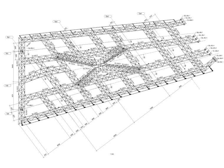 [肇庆]2层体育馆连廊结构竣工图2018-体育馆连廊桁架布置图