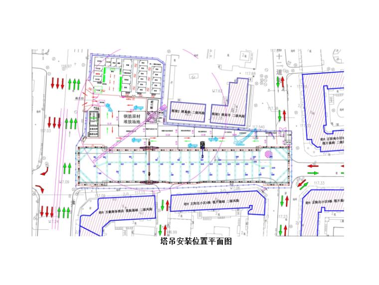 地铁车站TC5610塔吊安拆安全技术交底(一级)-塔吊安装位置平面图