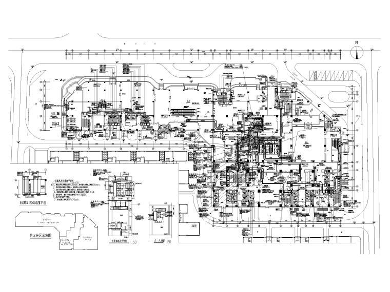 [厦门]五星级酒店_办公楼空调通风系统设计-一层通风及防排烟平面图