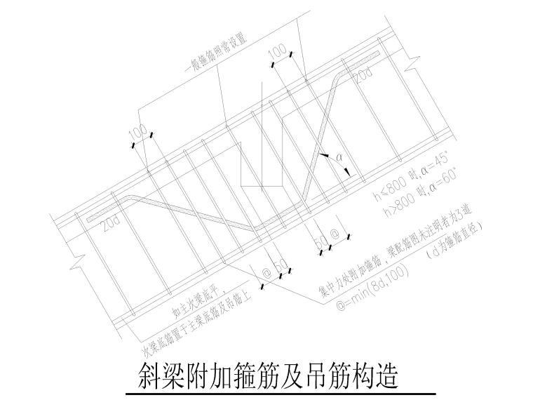 楼板钢筋构造及坡屋面构造大样2018(CAD)-斜梁附加箍筋及吊筋构造