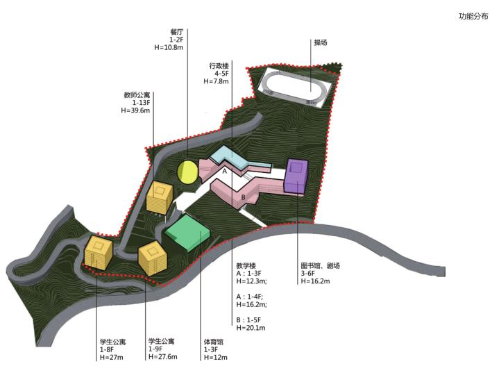 惠州小径湾贝赛思大型国际学校方案文本2016-功能分布
