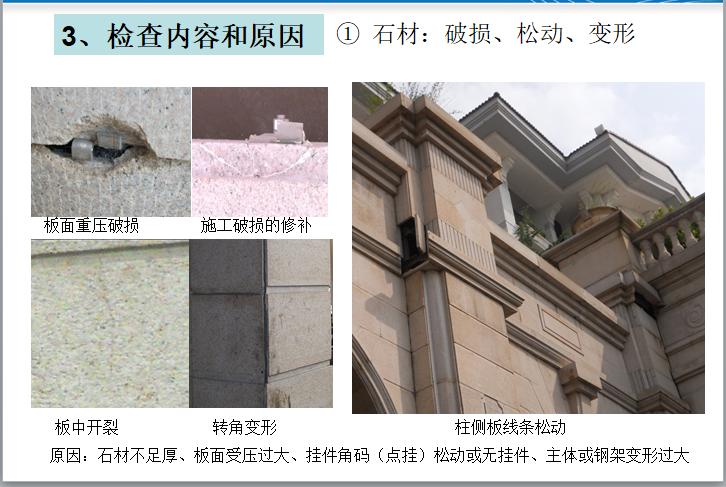 知名地产干挂石材工程维护检查指引(图文)-石材:破损、松动、变形