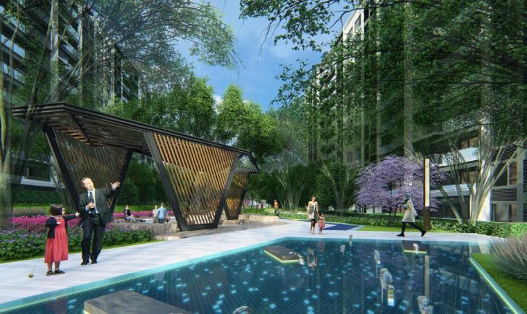 [贵州]现代简约山水人文住宅景观方案设计-效果图