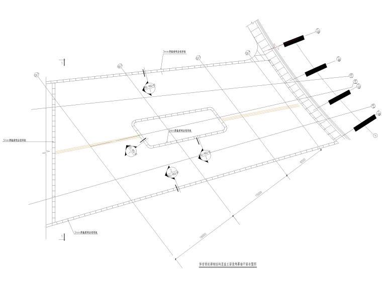 [肇庆]2层体育馆连廊结构竣工图2018-体育馆连廊钢结构屋盖立面装饰幕墙平面布置图