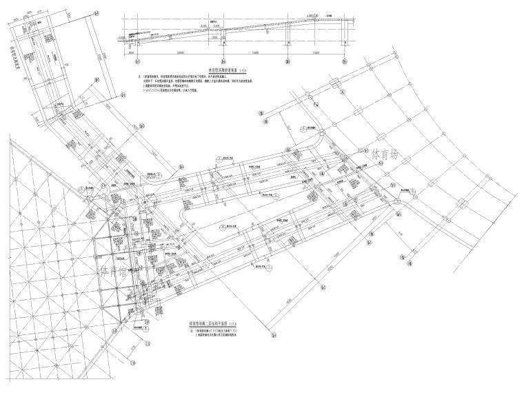 [肇庆]2层体育馆连廊结构竣工图2018-体育馆连廊结构平面图