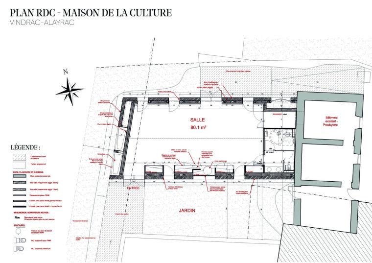 法国Vindrac-Alayrac文化中心平面图1