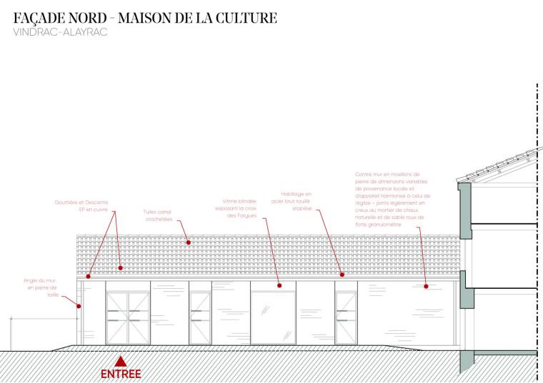 法国Vindrac-Alayrac文化中心立面图