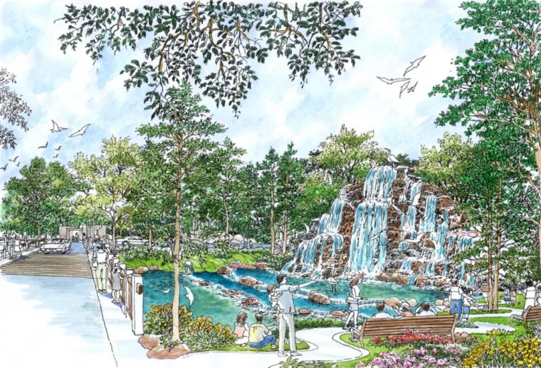 [武汉]滨江温泉旅游休闲度假区景观规划方案-山叠水 景观温泉