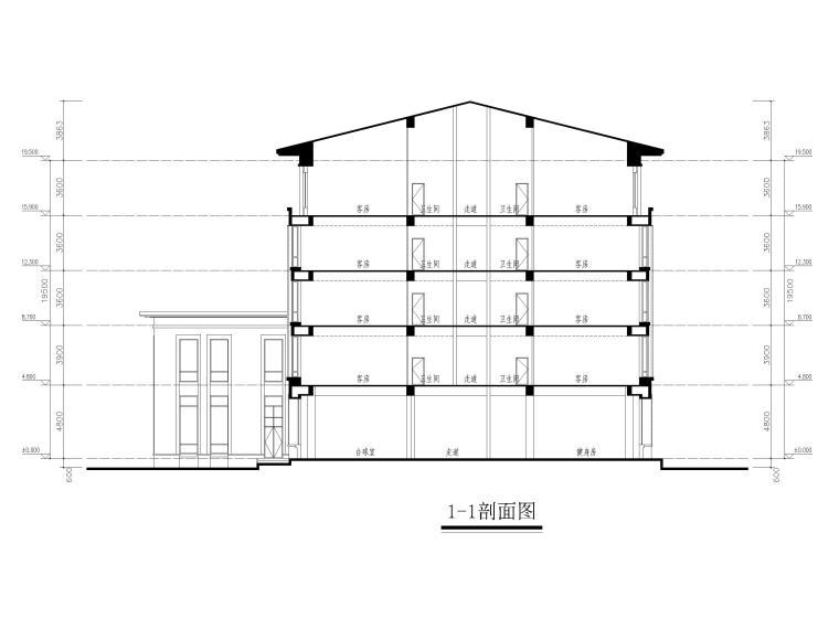 [山东]高密现代中式五层酒店建筑方案图CAD-剖面图