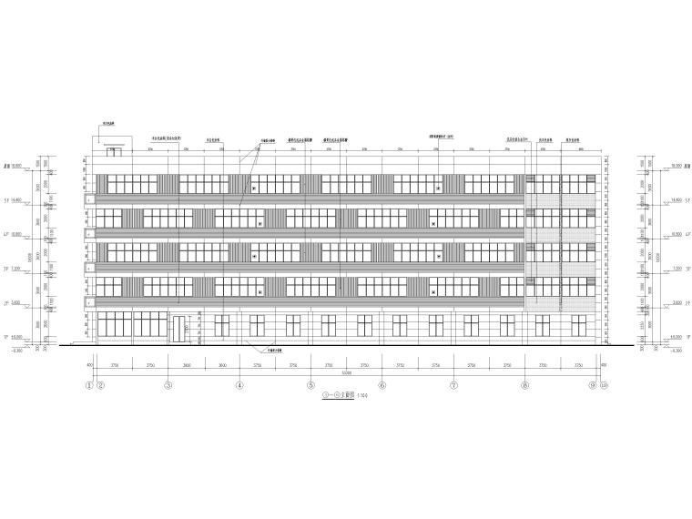 [荆门]5层框架结构员工宿舍楼全套图纸2017-建筑立面图
