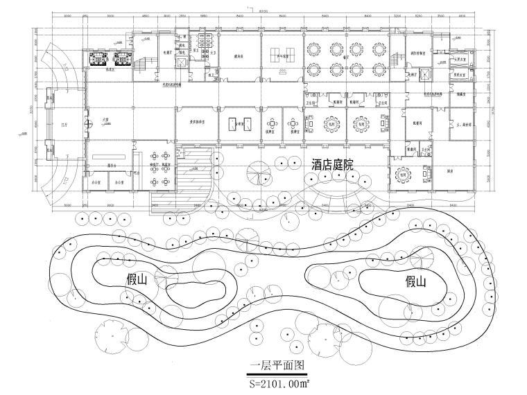 [山东]高密现代中式五层酒店建筑方案图CAD-一层平面图