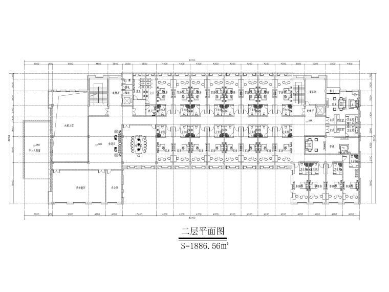 [山东]高密现代中式五层酒店建筑方案图CAD-二层平面图