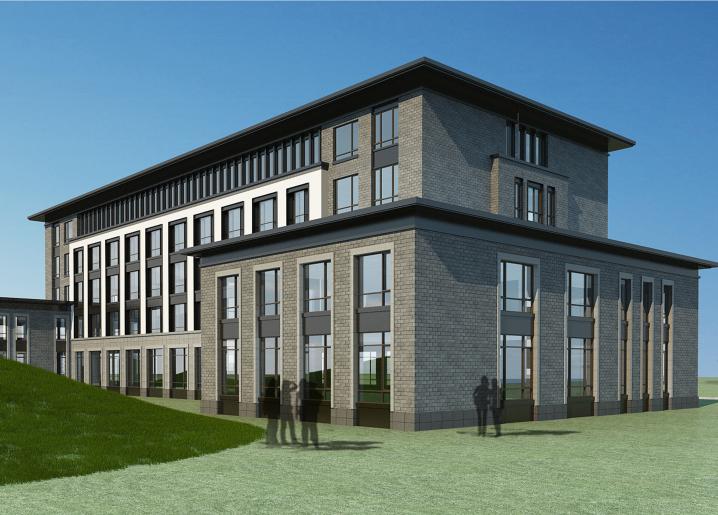 [山东]高密现代中式五层酒店建筑方案图CAD-东南角透视图