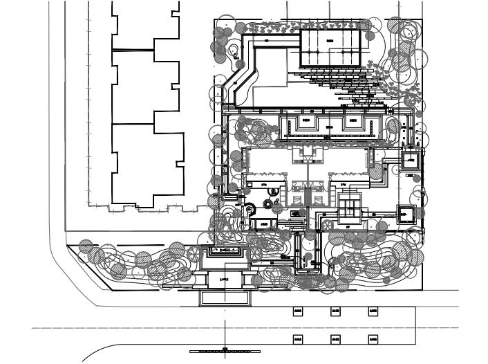 成都高端生态新中式居住区景观施工图cad-总平面图