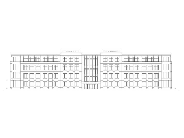 [山东]高密埠口小学建筑方案图CAD+效果图-教学楼立面图1