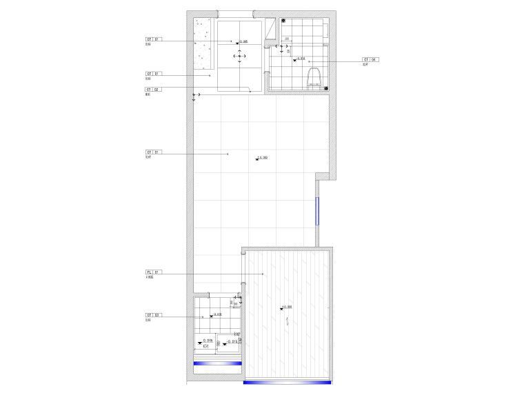 [江苏]38㎡一居室家装样板间装修设计施工图-地面铺装图