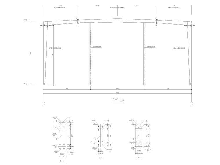 [肇东]单层门式刚架结构锅炉房结施图纸2016-刚架立面图