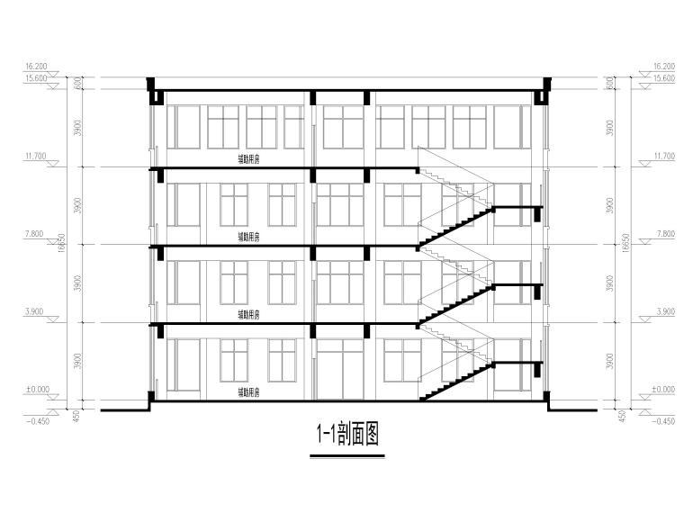 [山东]高密埠口小学建筑方案图CAD+效果图-教学楼1-1剖面图