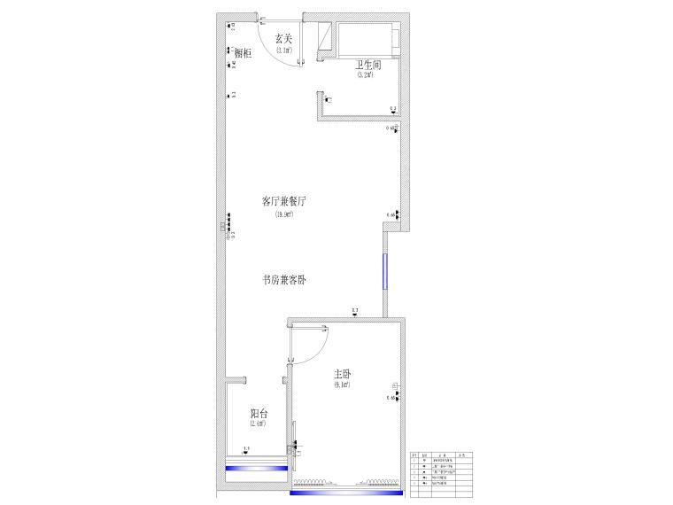 [江苏]38㎡一居室家装样板间装修设计施工图-机电点位图