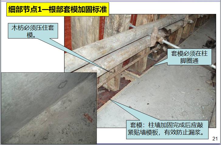 名企模板工程施工指引讲义(187页)-细部节点1—根部套模加固标准