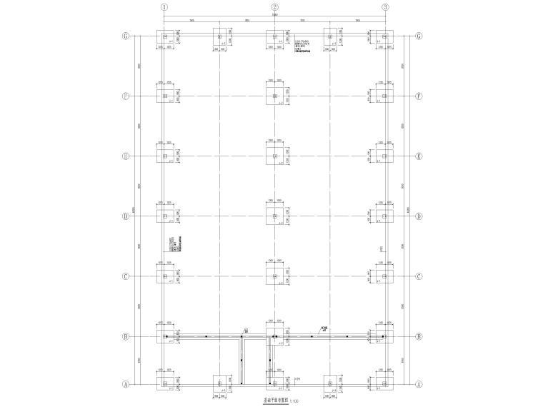 [肇东]单层门式刚架结构污水处理站结施2016-基础平面布置图