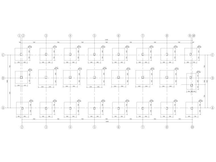 [荆门]5层框架结构员工宿舍楼全套图纸2017-基础平面布置图
