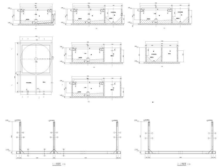 [肇东]单层门式刚架结构污水处理站结施2016-水池结构施工图