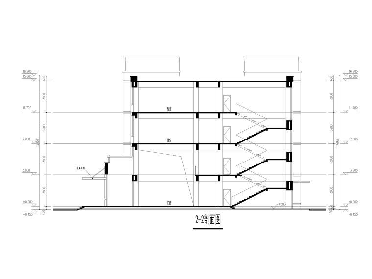 [山东]高密埠口小学建筑方案图CAD+效果图-教学楼2-2剖面图