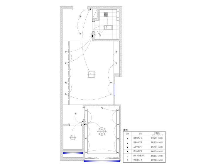[江苏]38㎡一居室家装样板间装修设计施工图-开关布置图