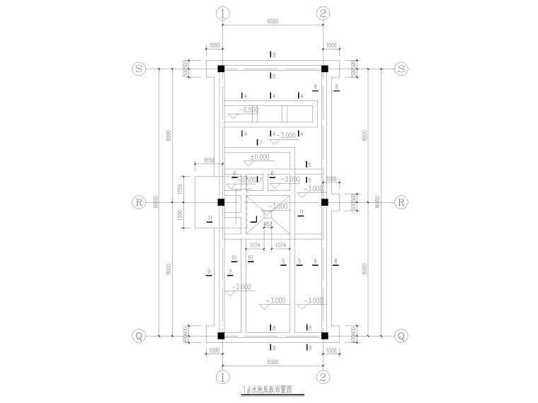 水池结构设计详图2017(CAD)-水池底板布置图