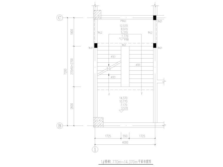 [荆门]5层框架结构员工宿舍楼全套图纸2017-楼梯结构平面布置图
