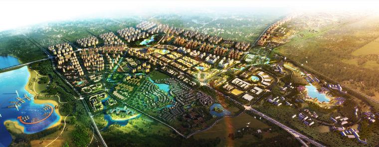 [海口]国际旅游文化风情小镇概念规划方案-总体鸟瞰图
