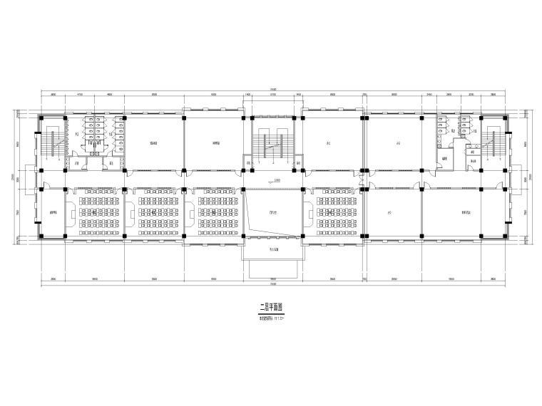 [山东]高密埠口小学建筑方案图CAD+效果图-教学楼二层平面图