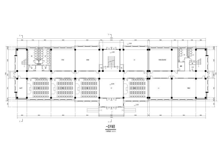[山东]高密埠口小学建筑方案图CAD+效果图-教学楼一层平面图