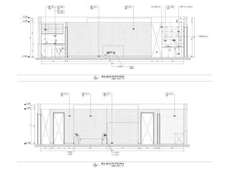 [江苏]38㎡一居室家装样板间装修设计施工图-样板间立面图