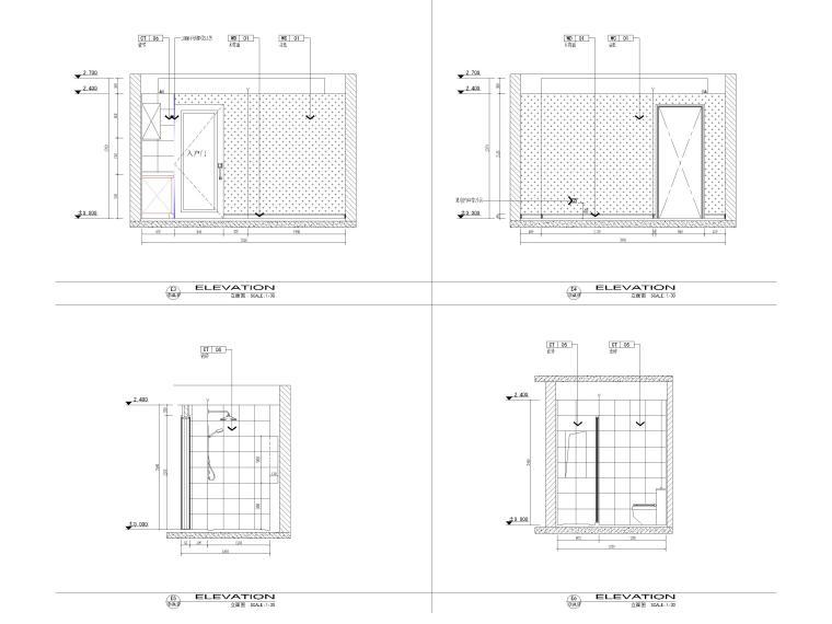 [江苏]38㎡一居室家装样板间装修设计施工图-样板间立面图2