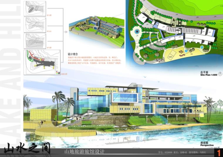 山地旅馆设计学生作业建筑展板16份-山地旅馆设计学生作业建筑展板1
