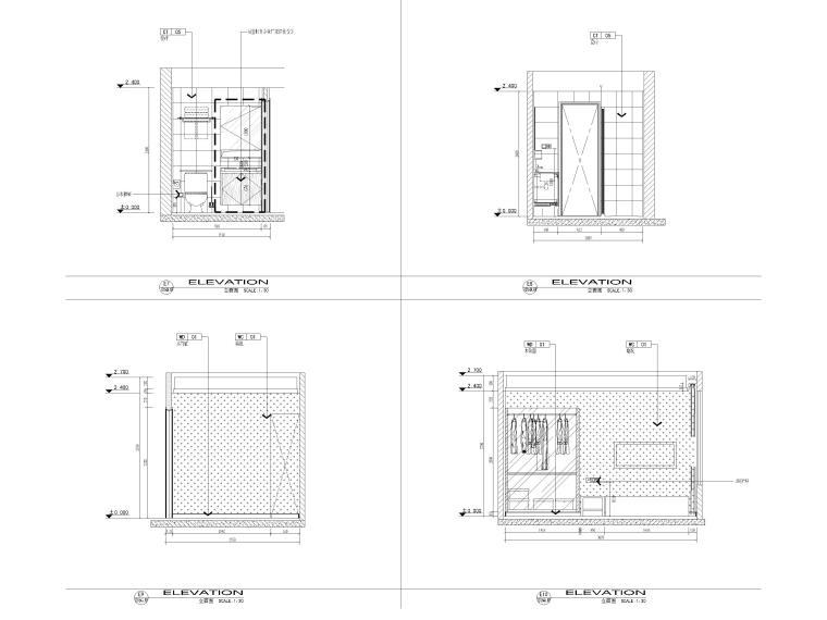 [江苏]38㎡一居室家装样板间装修设计施工图-样板间立面图3