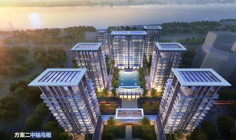 [上海]高端滨江豪宅租赁住宅建筑概念方案-中轴鸟瞰